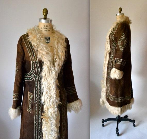 Vintage Embroidered Shearling Afghan Jacket Coat Size Medium