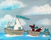 Children's Art Print, Nursery Print, Whimsical Animals in Sailboats