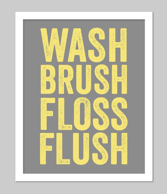 Bathroom Art Grey: Yellow And Grey Bathroom Subway Art For Bath Wash Flush Brush