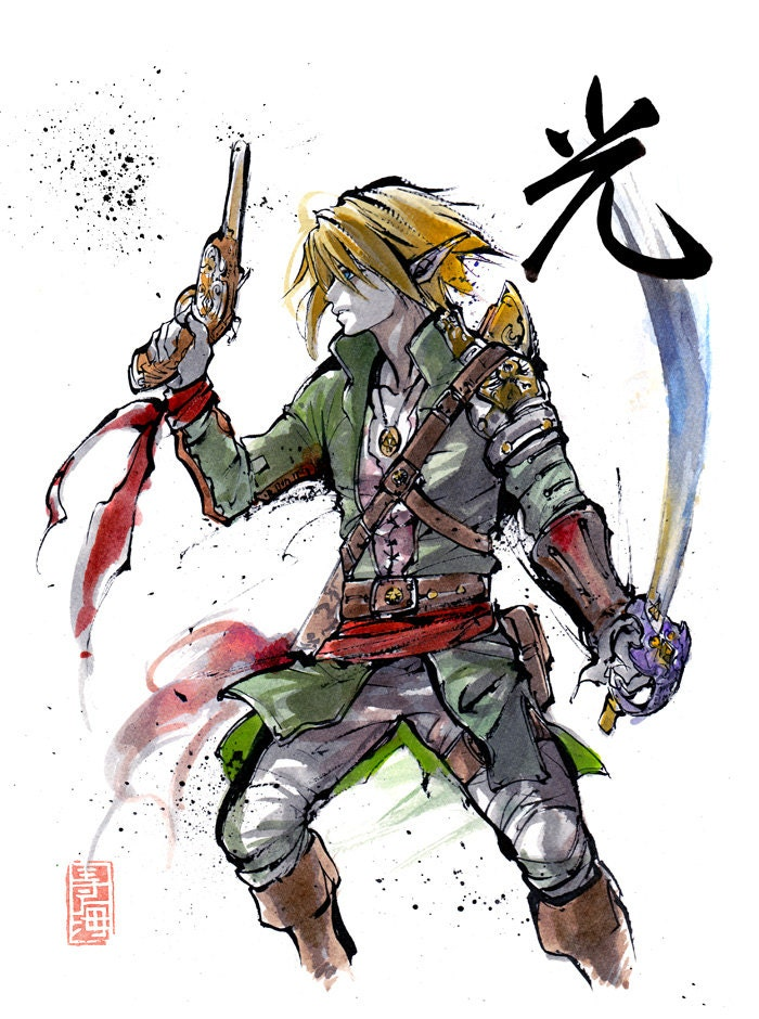 8x10 Print Zelda Pirate Link With Japanese Calligraphy Light