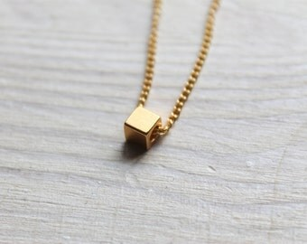 tiny cube -necklace (geometric gold cube charm and gold plated chain minimal discreet)