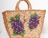 Vintage 60s Purse /Vintage 50s 60s Purse /Flower & Fruit  Purse Handbag /Tropical purse / Vintage Pool Purse
