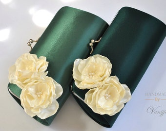 GREEN and IVORY- Green Wedding - Bridal Clutch / Bridesmaid clutch / Prom clutch / Custom Clutch