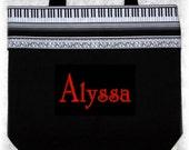 Piano personalized music lesson book bag birthday recital child's kids gift idea treble clef keyboard black canvas