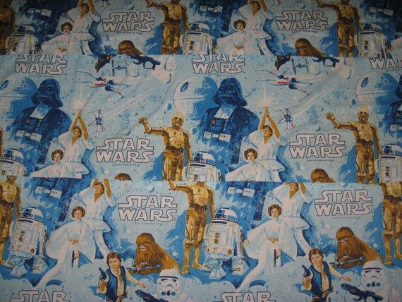 1977 Star Wars Vintage Fabric Sheeting Handmade Curtain Panel
