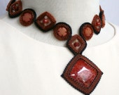 Fire Agate Circles and Squares Collar and Earrings Set