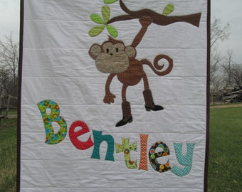Personalized Quilt,  Baby Quilt, Toddler Bedding, Monkey, Kid's Blanket, Nursery Decor, ANY THEME