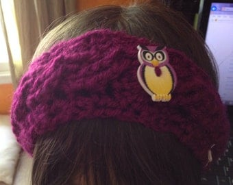 Ready to Ship * Crochet * Cable Ear Warmer * Head Wrap * CHILD Size * Teen Size * with Large OWL Button * Bright Purple *
