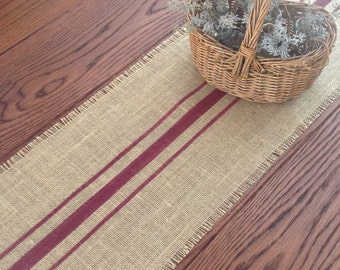 Burlap Table Runner 10 To 14 X 108 Or 120 Merlot Striped Rustic Burlap  Runner