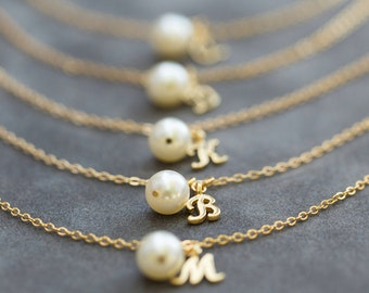 6 Gold Bridesmaid Bracelets, Charm Initial Jewelry, Custom Bridesmaid Gift Set of 6,  Initial & Pearl Bracelet