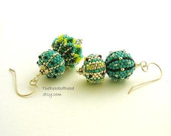 Earrings - Beaded Beads by Sharri Moroshok - Dots and Lines