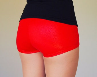Sparkly Hologram Red Roller Derby Shorts - in stock