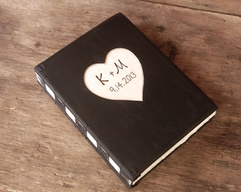 Engraved Wedding guest book vintage  black wood covers anniversary gift black  - personalized rustic victorian antique  - made to order