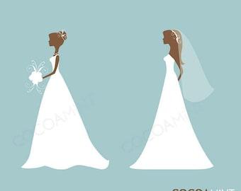 Elegant Silhouette Brides Set 1 Clip Art