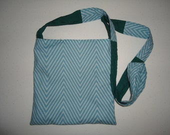 Chevron Notebook Tote with solid teal lining