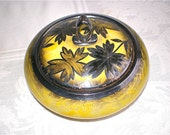 Yellow Sterling Silver Covered Dish Art Deco Eschenbach Bavaria Covered Bowl Sugar Bowl Trinket Dish Leaves