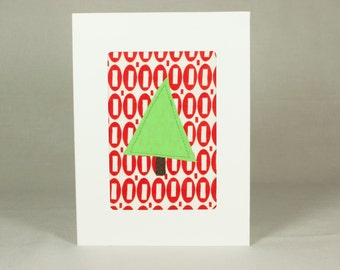 Handmade Christmas Card - Fabric Christmas Card - Quilted Greeting Card - Merry Christmas