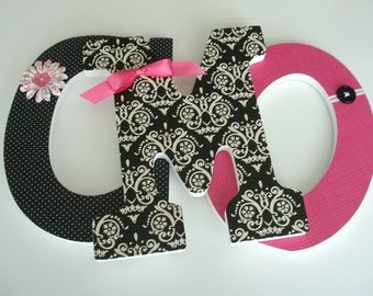 Custom Wood Nursery Letters - Black and Hot Pink - Girls Nursery Name Décor