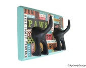 Dog Leash Holder - Double Tail -  Here Comes Trouble - Personalize with optional letter tiles