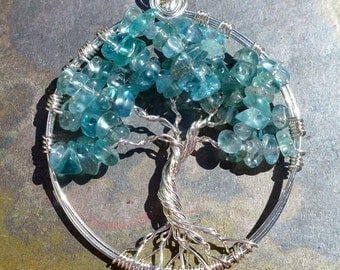 Apatite Tree of Life Pendant Necklace, Wire Wrapped Apatite Tree of Life Pendant,December Birthstones Tree of Life Pendant Necklace,