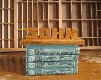 Vintage John Desk Nameplate Personalized Vintage Office 1970s Decor Handmade Wood