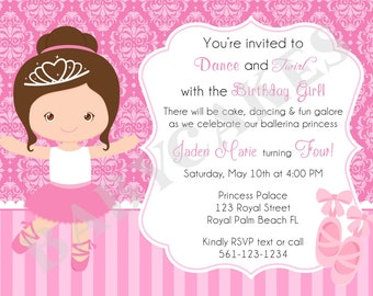 Ballerina/Princess/Birthday Invitation/invite/princess ballerina/party/Choose your girl/custom/printable/matching printables available