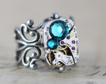 Steampunk Ring December Birthstone Ring Watch Ring Unique Ring Silver Ring Filigree Ring Adjustable Ring Blue Zircon Inspired by Elizabeth