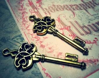 Skeleton Key Pendants Antiqued Gold 45mm Steampunk Key Charms 2 pieces
