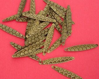 30-Antiqued Brass Drop  Charm 28x5mm.
