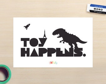 Toy Happens Small Art Print // Geekery Toy Collectors Retro Love  // Dinosaurs