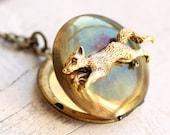 Fox Locket Necklace ... Vintage Woodland Pendant Gold
