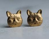 Cat Lady Earrings ... Vintage Brass Stud Post Earrings