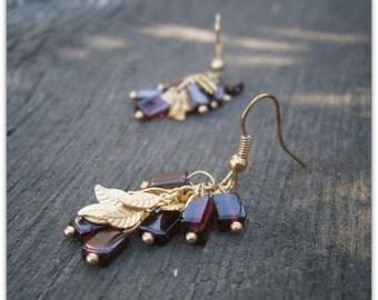 leaf earrings fall leaf dangle earrings gold earrings cluster earrings gemstone earring garnet earrings garnet jewelry goldfilled earrings