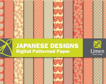 Japanese Digital Paper Pack, Japanese Paper, Traditional Japanese Patterns, Cherry Blossom, Oriental Patterns, Japanese Waves, Geometric