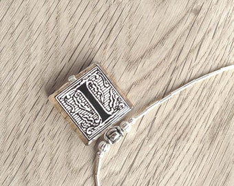 "Initial Letter ""I"" Monogram Glass Tile Pendant With Liquid Silver Beads Necklace"