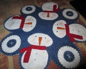Circle of Snow Penny Rug Candle Mat