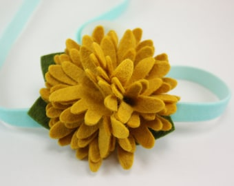 Baby Headbands - Golden Mustard Aqua Felt Flower Headband - Newborn Baby Girl to Adult