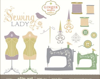 Sewing clip art, hand draw illustration clipart - Commercial and personal use - CA261