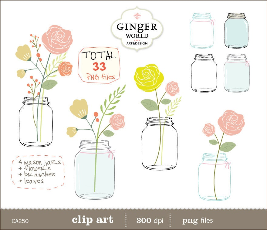 Mason Jar clip art Flowers clipart pink rose flower