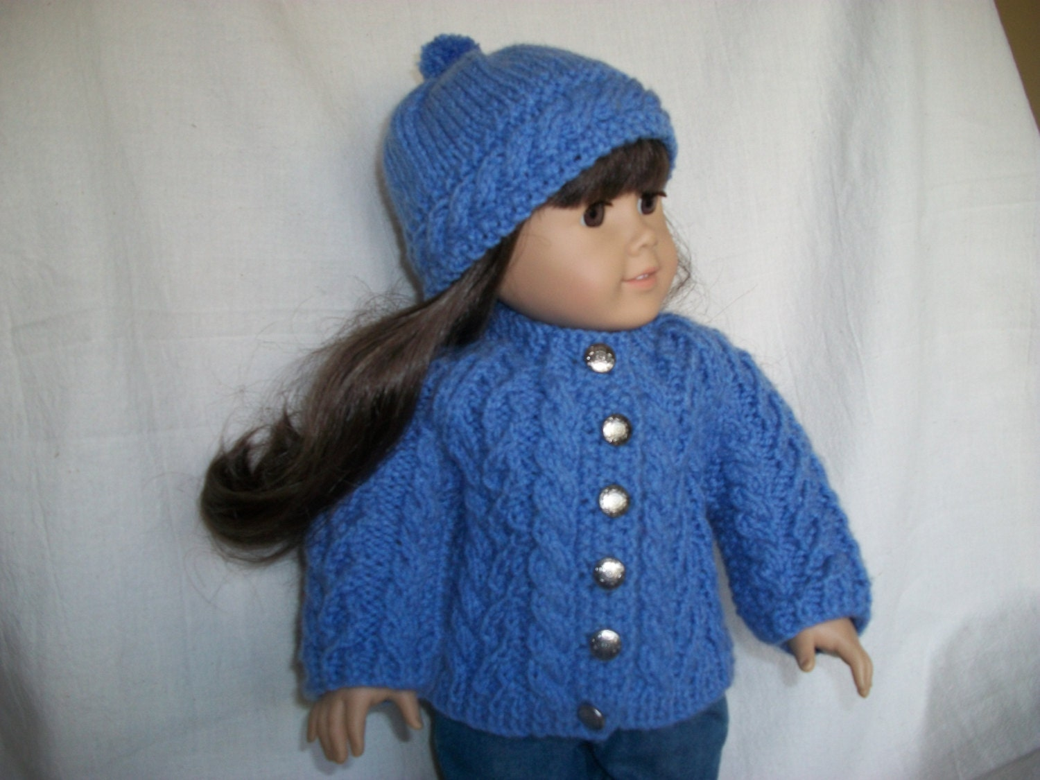 Knitting Pattern Doll Cardigan : 18 inch Doll Knitting Pattern All Over Cable Raglan Cardigan