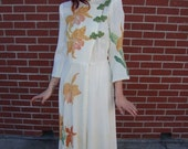 1940s Raw Silk Hand Painted Dressing Gown Robe Gorgeous Glamorous Old Hollywood
