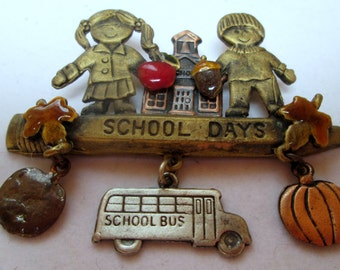 Vintage Signed JJ Jonette Jewelry,  Pin Brooch school days, vintage jewelry collectible, teachers gift