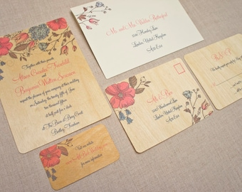 real wood wedding invitations blue and pink floral
