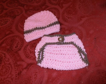 crochet diaper cover and hat set, newborn,  photo prop