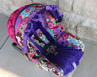 Limited stock - Purple pink green blue Flowers 3D rose accent Infant car seat cover-Purple minky and ruffle - Custom Order