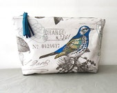 Makeup pouch, cosmetic bag, travel pouch, toiletry bag, bird print