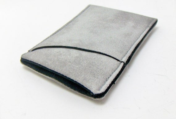 Mens Wallet , Thin and Sleek , Washed Gray - pick your lining color