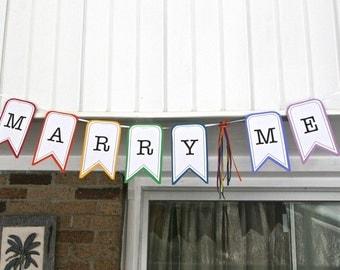 Marry Me Banner in Rainbow - Proposal Helper