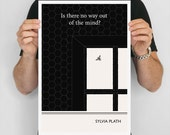 "Literary Art Print, ""Sylvia Plath"" Large Wall Art Posters, Literary Quote Poster, Illustration, Minimalist Prints, Bookish Gift for Writer"