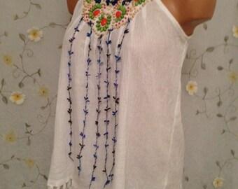 MEDIUM, Cotton Hippie Flowerchild Upcycled Altered OOAK Top